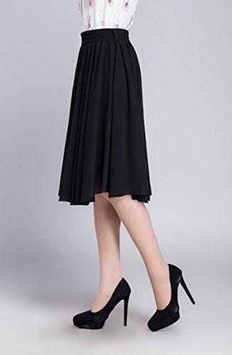 Damen Retro Basic Solid vielseitige dehnbaren Elegant Faltenrock Hohe Taille Midi-Rock Schwarz