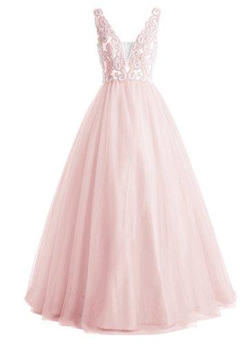 Bbonlinedress Robe de soirée et de bal A-line emperlée sexy col V dos nu longueur ras du sol en tulle Rose