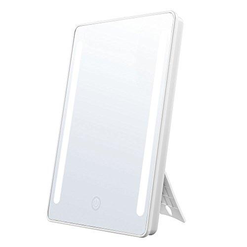 Jerrybox Schminkspiegel mit Beleuchtung Beleuchteter Kosmetikspiegel LED Make up Spiegel Faltbarer Standspiegel Tischspiegel, 180° Einstellbar, Dimmbar, Kompakt, Perfektes Geschenk für Frauen, Weiß