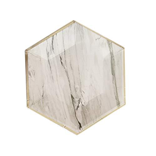 TOOGOO Texture de marbre Decoration de fete d'anniversaire pour enfants Tissu Coupe en papier Vaisselle en papier de diner Coupes de plaques