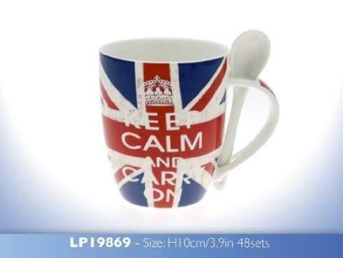 Union Jack Keep Calm and Carry On Porcelaine Tasse et cuillère