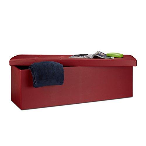 Relaxdays Banco Asiento Almacenaje Cuero Sintético, Plegable, Rojo Os