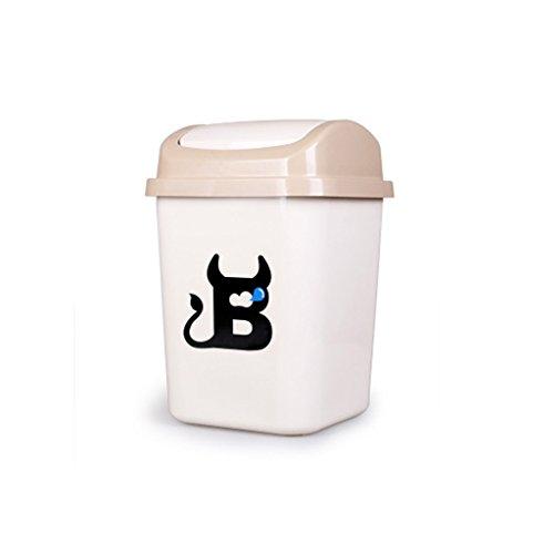 HZH Kreative Haushalt Müll Kann Badezimmer Schütteln Mülleimer Für Haus Schlafzimmer Wohnzimmer Büro Mülleimer ( Color : Beige ) (Küche Schritt Papierkorb Kann 13 Gallone)