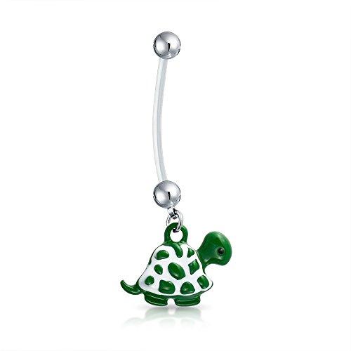 Bling Jewelry Bioflex Green Beach Turtle baumeln Bar und Ball Stil Nabel Bauch Ring aus Silber Ton Chirurgischer Stahl 14G (Body Bar Flex)