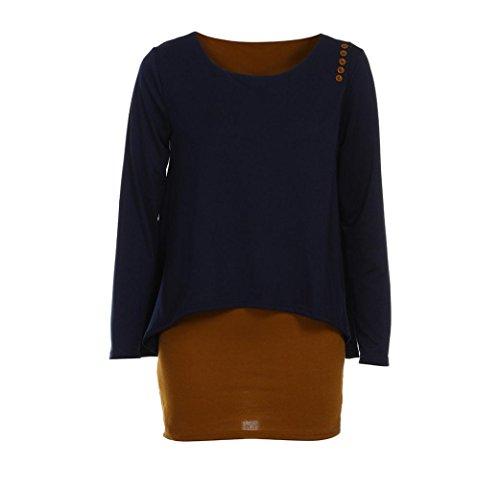 ESAILQ Damen Tops Frauen Kurzarm V-Ausschnitt Spitze Gedruckte Lose T-Shirt Bluse Oberteile Tees Shirt(XXL,Marine)