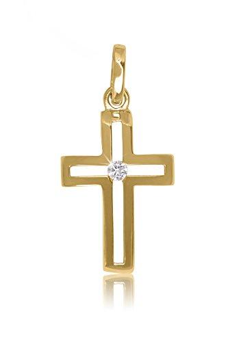 MyGold Kreuz Anhänger (Ohne Kette) Gelbgold 750 Gold (18 Karat) Hochglanz Mit Stein Zirkonia Innen Offen 23mm x 12mm Mädchen Frauen Kommunion Goldkreuz Crossfire V0012685
