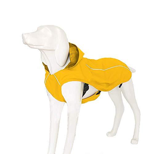 """OSPet Hunde-Regenmantel, wasserdicht, Winddicht, leicht, reflektierende Regenjacke mit Kapuze, Weste, Geschirr für kleine, mittelgroße und große Hunde, XL (Back 18"""", Chest 22.0-24.8""""), gelb"""