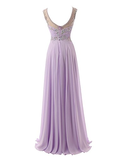 Beyonddress Damen V-Ausschnitt Lang Chiffon Empire Abendkleid Ballkleid Cocktail Partykleid Blush