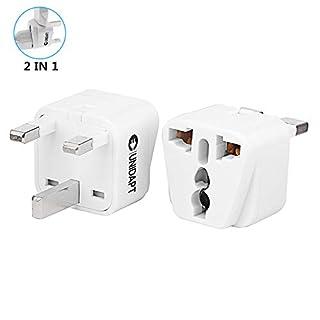 UK Plug Adapter- Unidapt US USA to UK England Hong Kong Ireland Power Plug Adapter - Charge 2 Devices at Once - Type G (Pack of 2 UK)