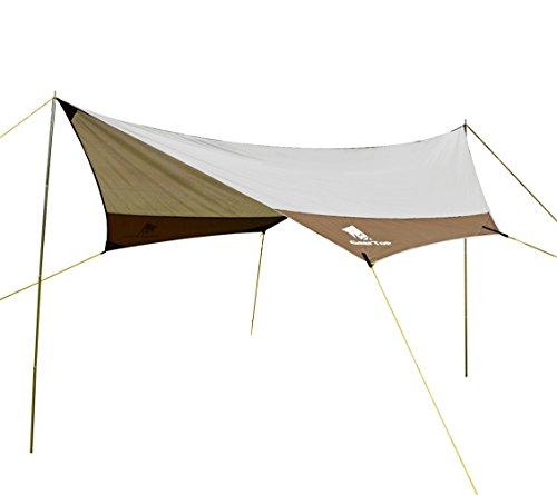 GEERTOP Sonnensegel Tarp Außenzelt Wasserdicht 4-7 Personen für Camping - 440x410 cm (2,1 kg) - Inklusiv Zeltstangen (Grau)