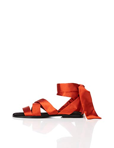 find. Satin Tie Up Sandalias con Punta Abierta, Marrón Rust, 40 EU