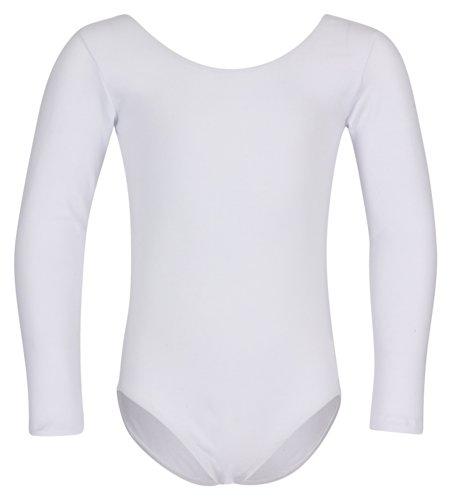 tanzmuster Kinder Langarm Ballettanzug Lilly mit rundem Hals- und Rückenausschnitt. Basic Ballett Trikot in weiß, Größe:152/158