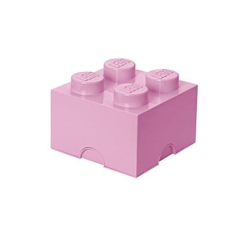 Room Copenhagen 40031738 Lego Brique Rangement Empilable Plastique Rose Poudre 4 Plots 25 x 25 x 18 cm