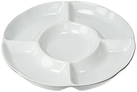 Price and Kensington Simplicity 5-Section Round Serving Dish, Porcelain, White,