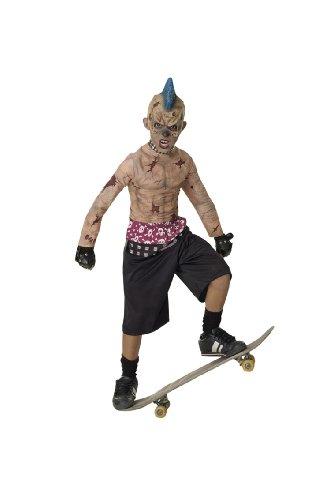 Zombie Skate-Punk Kostüm. Große 8-10 Jahre. 3/4 Maske, gespickt Halsband, Hemd, Hose und besetzte (Punk Kostüm Zombie)