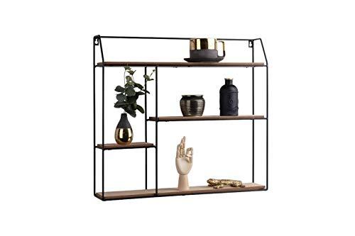 Lifa living mensola da muro quadrata, mensole da muro design soggiorno, 4 ripiani stile vintage, porta oggetti, foto, legno e metallo