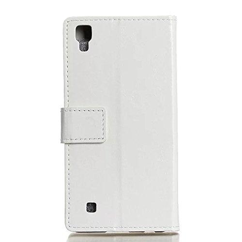 LG X Power Case, verrückte Pferd Textur Korn-Muster PU-ledernen Fall-Abdeckungs-festen Abdeckungs-Fall-horizontalen Schlag-Standplatz-Fall-Mappen-Kasten mit Karten-Schlitzen für LG X Energie ( Color : White
