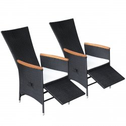 vidaXL 2X Gartenstühle Verstellbare Poly Rattan Akazienholz Outdoor-Sessel