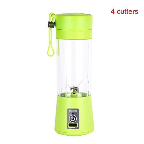 Carremark Tragbare elektrische Frucht Zitruspresse Flasche Handheld Smoothie Maker USB Wiederaufladbare Saft Mixer (Grün, Vier Schneider)