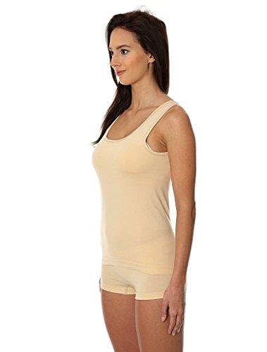 BRUBECK® 3x TA00510 COMFORT COTTON TANKTOP Damen Unterhemd | Baumwolle/Polyamid | Trägerhemd | Schulterfrei | Sportunterwäsche | Funktionswäsche Beige / A