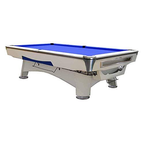 Feelcomfort Billardtisch Alaska 8ft (Blau/Weiß) Pool Snooker Schieferplatten inklusive Zubehörset -