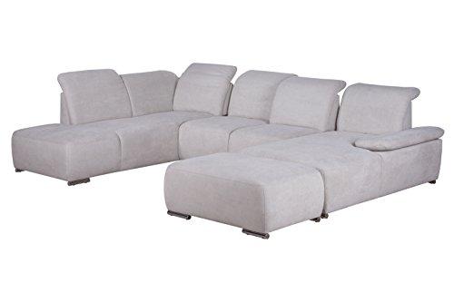 Cavadore Wohnlandschaft Tabagos / U-Form mit Ottomane links / XXL Sofa mit Sitztiefenverstellung / Kopfteilverstellung / Armteilverstellung / 364 x 85-96 x...