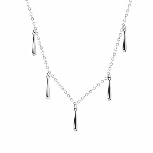 Hongrun S 925 Sterling Silber tropfen Halskette Halsband Halskette Los weibliche koreanische Version des kurzen Absatz koreanischen Schlüsselbein Kette einfache Studenten