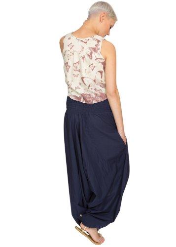 Pantalon Combi Maxi Harem en Coton Marine Bleu