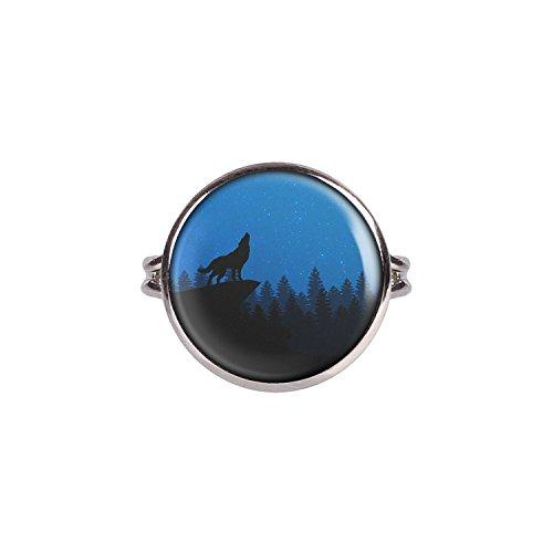 Mylery Ring mit Motiv Wolf Berg Wald Himmel Blau Sterne silber 16mm