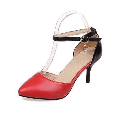 LvYuan Da donna Sandali PU (Poliuretano) Primavera Autunno Footing Fibbia A stiletto Bianco Nero Rosso 7,5 - 9,5 cm ruby