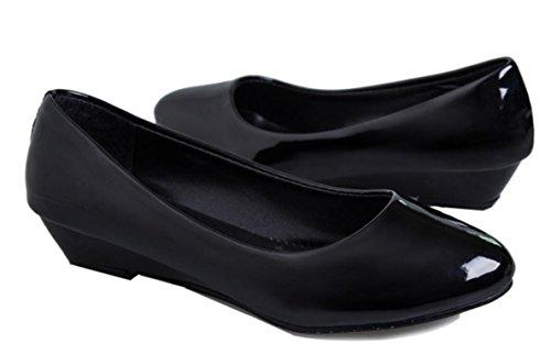 YCMDM Femmes Nouvelles Rondes Cuir Chaussures En Cuir Cuir Imperméable Plate-forme Chaussures Confortable Black