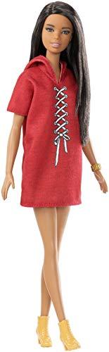 Barbie Fashionista Muñeca 32cm, morena y look con vestido rojo (Mattel FJF49)