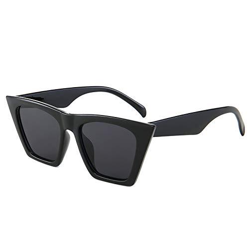 Yangjing-hl Persönlichkeit Katzenauge Sonnenbrille weiblich transparent hell Box Trend Wilde Sonnenbrille schwarzer Rahmen grau Stück Scharnier Zähne