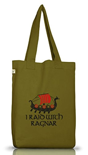 Shirtstreet24, I RAID WITH RAGNAR, Vikings Jutebeutel Stoff Tasche Earth Positive (ONE SIZE) Leaf Green