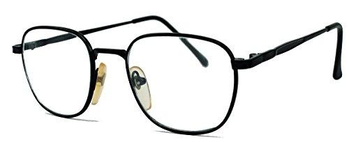 Kleine schmale Fashion Brille Nerdbrille Streberbrille Metallrahmen in Trapezform LT3 (Schwarz)