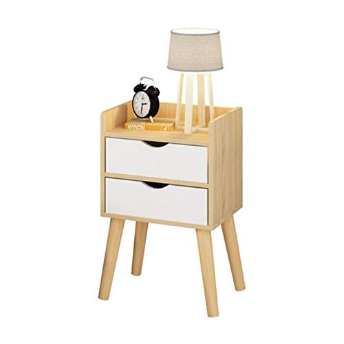 Tables CJC Consoles 2 Tiroir Chevet Côté en Bois Cabinet Élégant La De Nuit Stockage Unité (Couleur : Wooden Color)