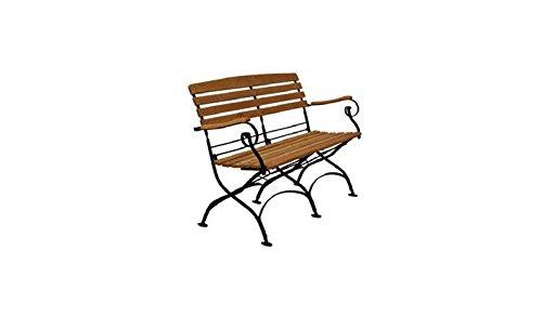 Klappbare 2-Sitzer Biergarten-Bank / Schlossgarten-Bank 'Premium' mit verzinktem Stahlrahmen und hochwertiger Robinien-Holz Belattung im Maß von ca. 114 x 87 x 60 cm ( Breite x Höhe x...