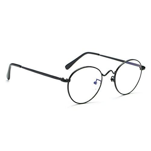 Cyxus Retro Runde Brille transparente linse,gewöhnliche gläser retro mode unisex brillen, (schwarzer rahmen) Kein grad der gläser