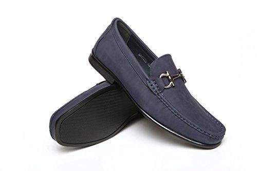 JAS Hommes A Enfiler Chaussures Semelle Antidérapante - Chic Décontracté Mocassin Mode - Cuir Suédé Finition - Métal Lanière à Travers le Vampire - Semelle Intérieure Coussinée Bleu