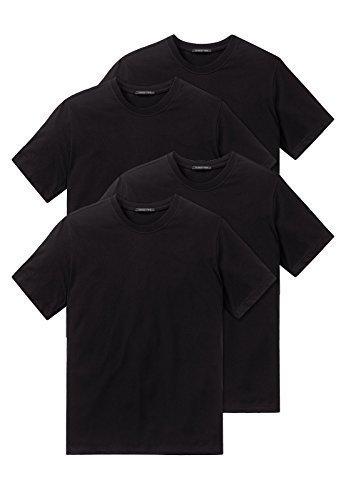 Schiesser 4er Pack American T-Shirt Rundhals oder V-Neck M-XXXL, Schwarz o. Weiß (9 (Gr. XXX-Large), Schwarz (Rundhals)) (V-neck T-shirt Baumwoll Jersey)
