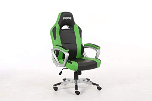 iprotect Gaming-Stuhl – Schreibtisch- und Bürostuhl für Gamer mit Kunstlederbezug in Grün und...