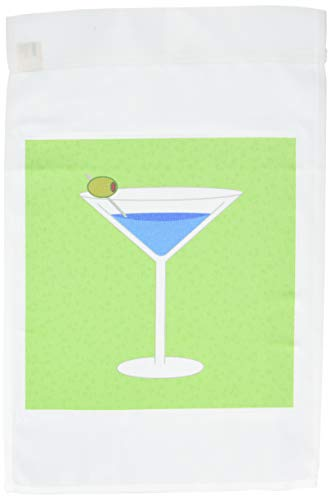 3dRose FL_57111_1 Bright Blue Martini in Glass with Olive-Green Background Garden Flag, 12 by 18-Inch