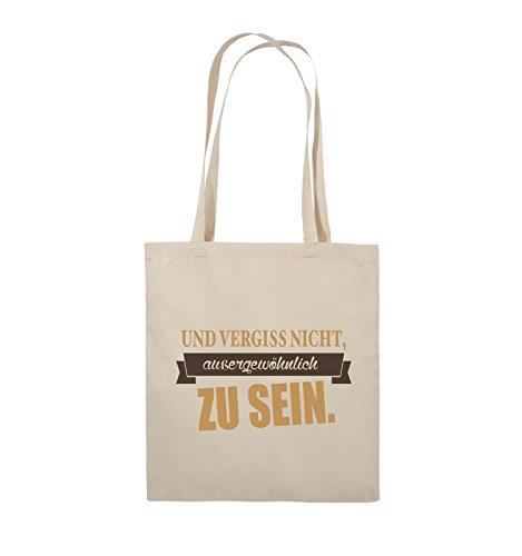 Comedy Bags - Und vergiss nicht, aussergewöhnlich zu sein. - Jutebeutel - lange Henkel - 38x42cm - Farbe: Schwarz / Weiss-Neongrün Natural / Hellbraun-Dunkelbraun