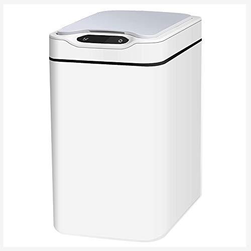 Hurfzuy 12L / 3.1 Gallon Trash Can Automatico, PP Regolabile sensore Cucina/Bagno/Camera da Letto Cestino e Motion-Sensing Coperchio con Adattatore AC, Bianco