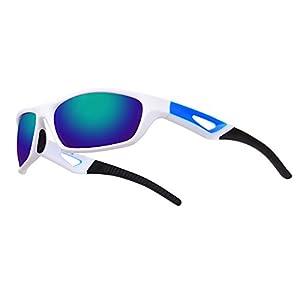 Ewin E51 Gafas de Sol de Deporte Polarizadas, TR90 Marco Irrompible, UV400 Protección, Gafas por Hombres y Mujeres, Golf, Ciclismo, Conducir, Pesca, Correr y Otras Actividades al Aire Libre (Blanco y Negra)