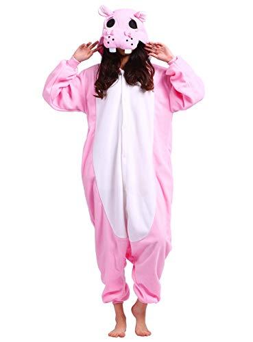 Karneval Onesies Pyjamas Bekleidung Animal Erwachsene Unisex Schlafanzüge Cosplay Rosa Nilpferd Flusspferd Jumpsuits Anime Carnival Spielanzug Kostüme Weihnachten Halloween Nachtwäsche Herren