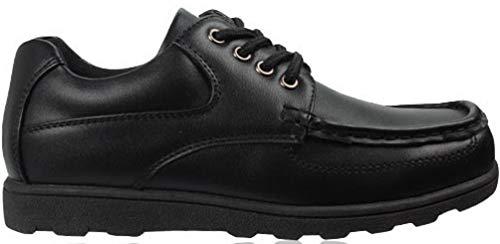 Zapatos Escolares Negros para niños de Piel sintética con Gancho y Lazo, Tallas de Reino Unido 12-5...