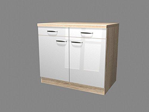 Küchen Unterschrank 100 cm breit Hochglanz Weiß Sonoma Eiche – Valencia