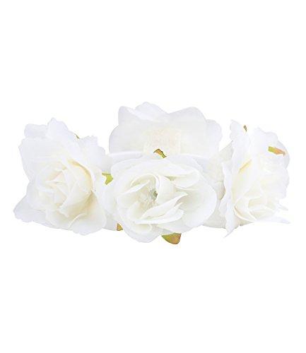 SIX 'Blumen' Damen elastisches Haargummi, Zopfgummi mit weißen Stoff Rosen Blüten und grünen...