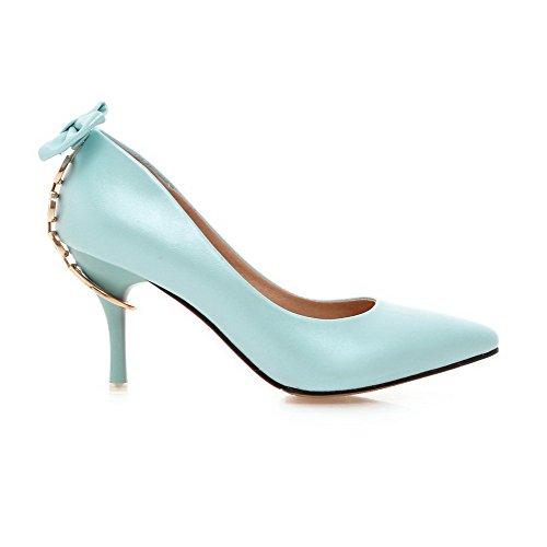 AllhqFashion Damen Pu Rein Spitz Schließen Zehe Stiletto Pumps Schuhe Himmelblau